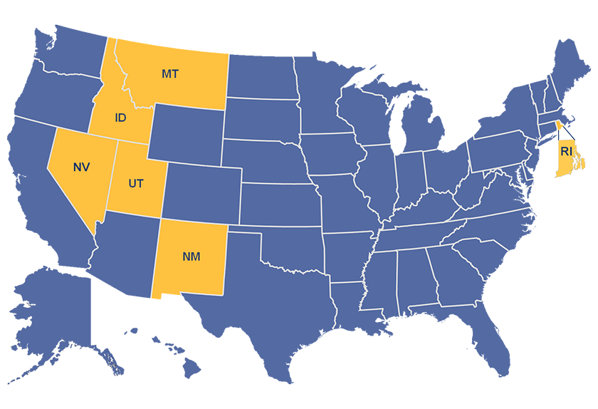 Map of the United States with Portal Partner states (Montana, Idaho, Nevada, Utah, New Mexico, and Rhode Island) highlighted