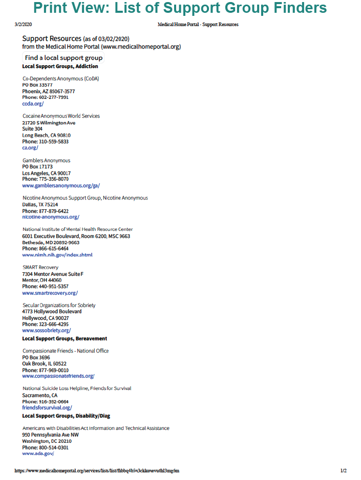 Print view: list of support group Finders. Screenshot of Medical Home Portal custom list